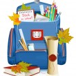 Back to school! School bag with education objects. — Stock Vector #22221745