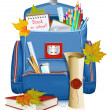 Back to school! School bag with education objects. - Stock Vector