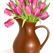 Pink tulips in clay pitcher - Stock Vector