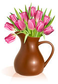 Pink tulips in clay pitcher — Stock Vector