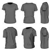 Mannen zwarte korte mouwen t-shirt ontwerpsjablonen — Stockvector