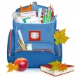 School bag with education objects — Stock Vector #25739529