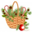 Christmas basket. — Stock Vector