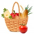 Basket full of basic food. — Stock Vector