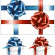 White box with the red and blue bow. — Image vectorielle