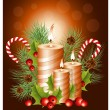 Christmas candles with holly  — Stock Vector