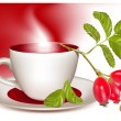 Cup of tea and ripe rose hip . — Cтоковый вектор