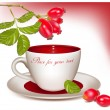 Cup of tea and ripe rose hip . — 图库矢量图片