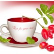 Cup of tea and ripe rose hip . — Vector de stock