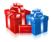 Red and blue gift box — Stok Vektör