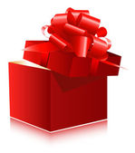 Red gift box with red ribbon — Vetorial Stock