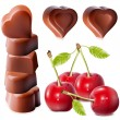 Heart-shaped chocolates with cherries. — Imagen vectorial