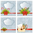 Set of snow Christmas background — Stock vektor