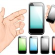Hand holding mobile phone — Stock Vector