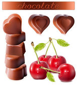 Heart-shaped chocolates with cherries. — Stock Vector