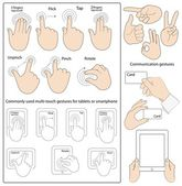 Commonly used gestures — Stock Vector