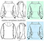 Men's hooded sweatshirt with pocket — Stock Vector