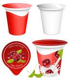 Design de embalagem de iogurte — Vetor de Stock