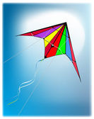 Kite flying on clear blue sky — Stock vektor
