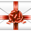 Envelope with red ribbon — Stock Vector