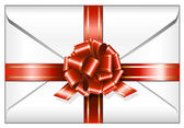 Envelope with red ribbon — Vector de stock