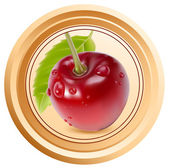 Packing jam jar with cherry. — Stock Vector