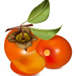 Persimmon with leaves. — Stock Vector