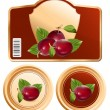 Stock Vector: Packing jam jar with plums.