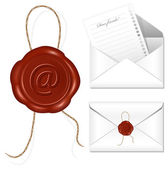 Letter with wax seal. — Stock Vector
