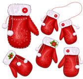 Christmas gift mittens — Stock Vector
