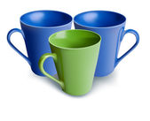 Blue and green mugs — Stock Vector