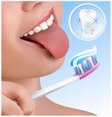 Kid brushing teeth. — Stock Vector