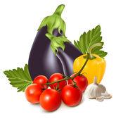 Kolorowe grupy świeżych warzyw. — Wektor stockowy