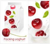 Design of packing yoghurt — Stock Vector