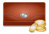Wallet and coins — Stock Vector