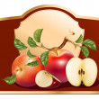 Stock Vector: Packing jam jar with apples.