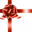 Gift red ribbon and bow — Vector de stock