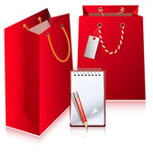 Red bags with notebook. — Stock Vector