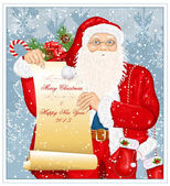 Santa Claus with Santa's list — Stock Vector