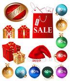 Balls, gift box, sales. — Stock Vector