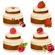 Cakes with ripe berries — Imagen vectorial