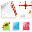Stock Vector: Christmas postage stamps.