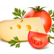 Cheese with tomato. — Stock Vector