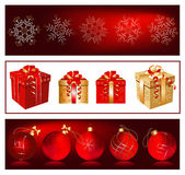Christmas balls and gift boxes — Stock Vector