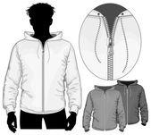 Hooded sweatshirt with zipper. — Stock Vector
