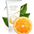 Stock Vector: Orange flavor toothpaste.