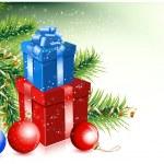 Tree-balls-giftbox-snow — Stock Vector