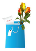 Gift blue bag with roses — Vector de stock