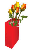 Gift red bag with roses — Stock Vector
