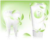 歯磨き粉の葉を持つ. — ストックベクタ